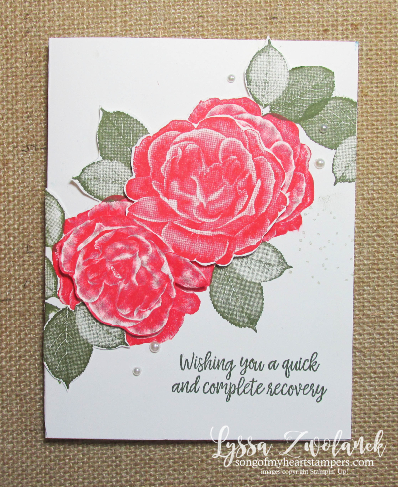 Healing hugs get well soon rubber stamps Stampin Up Lyssa red roses