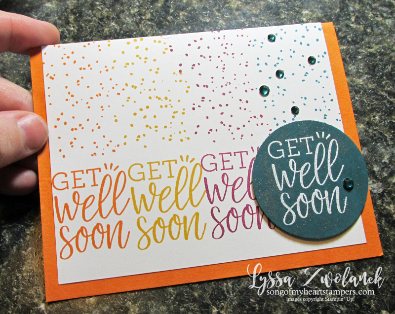 Healing Hugs get well soon spatter card colorful recovery wishes vibes Stampin Up