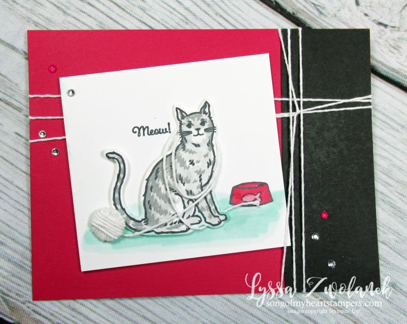 Cat dog punch happy tails nine lives yarn rubber stamp Lyssa Stampin Up