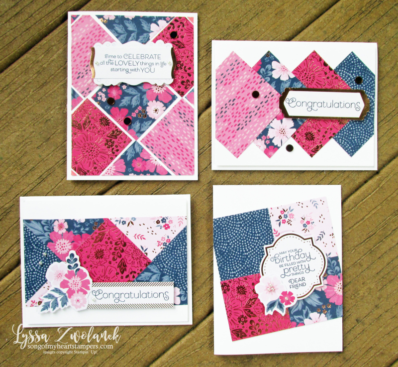 Everything is rosy card kit stampin up Lyssa quilts quilting cardmaking