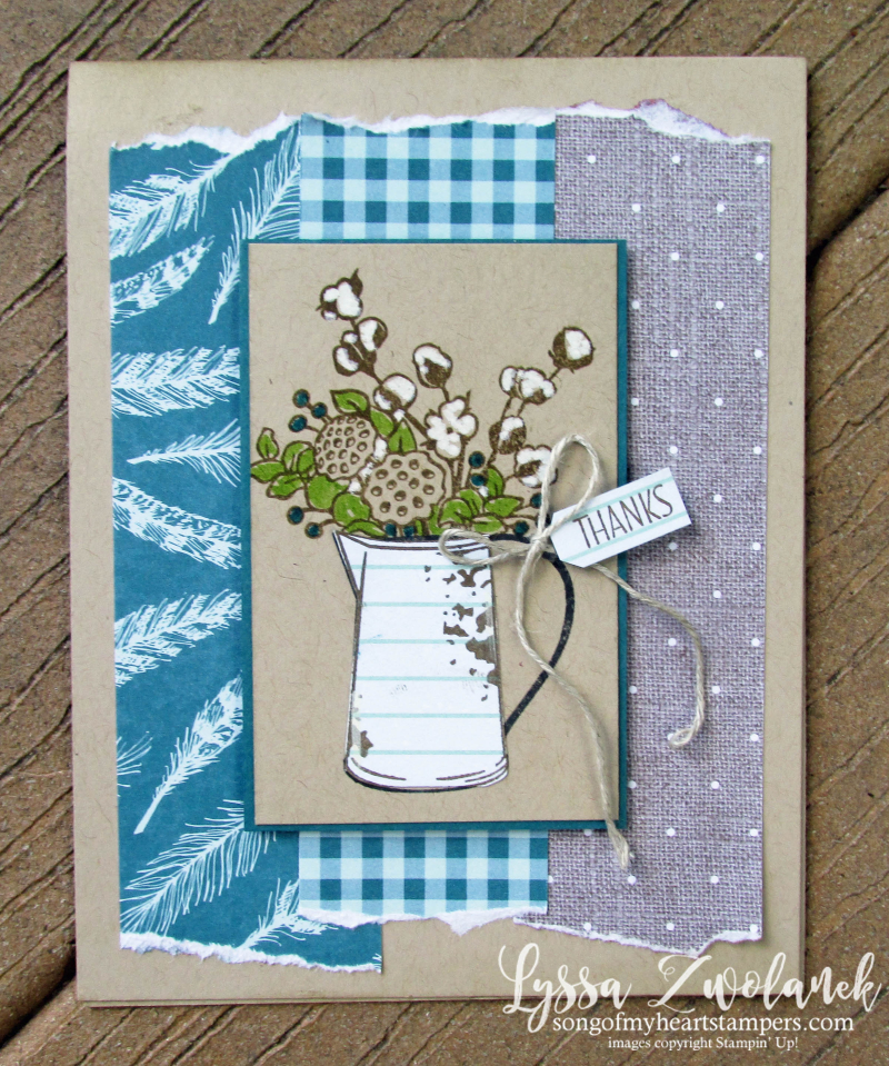 Farmhouse hardvest pitcher leaves autumn fall cardmaking Stampin Up Lyssa stamps