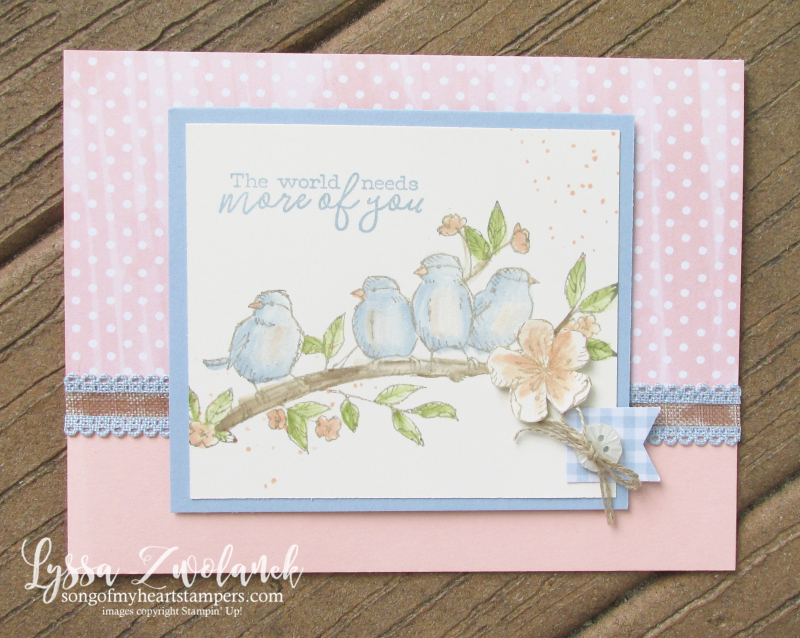Bird ballad free nested flying feathered no line watercolor Stampin Up rubber stamps