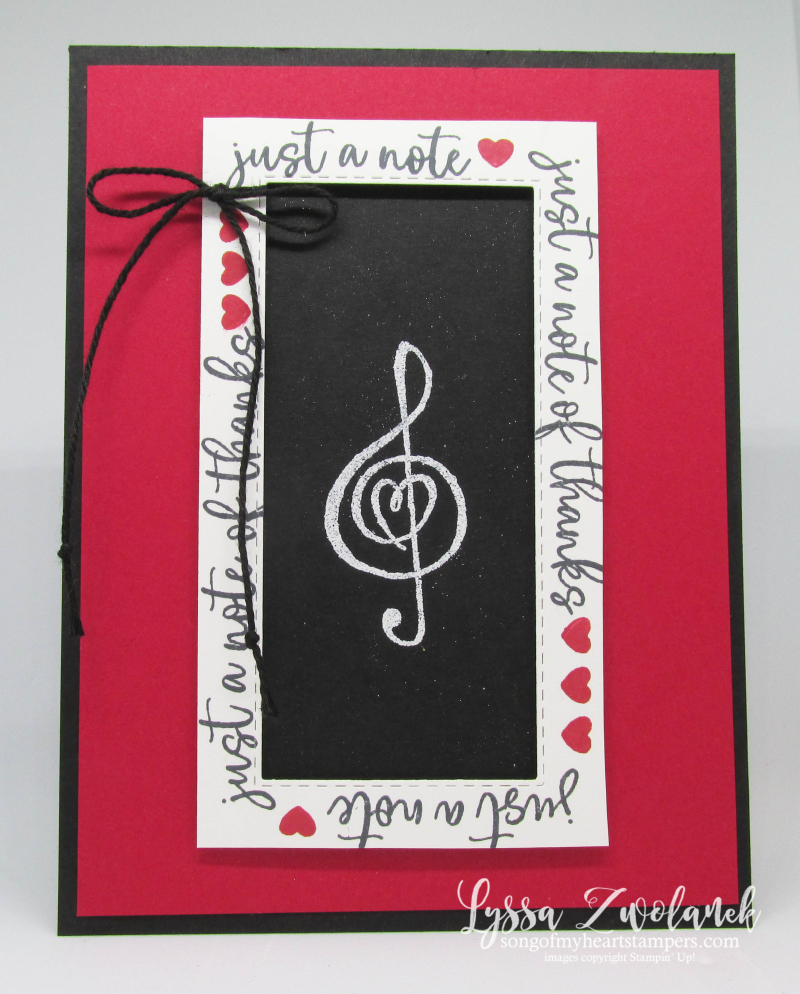 Music from the heart Stampin Up Lyssa musical notes treble clef rubber stamps