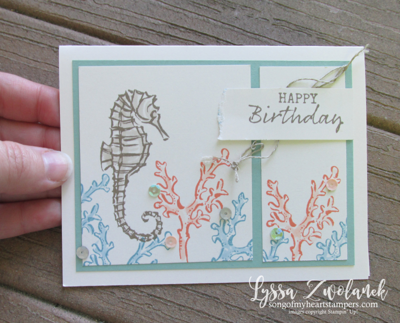 Seaside notions seashells ocean card ideas Stampin Up seahorse sand dollar conch coral rubber stamps