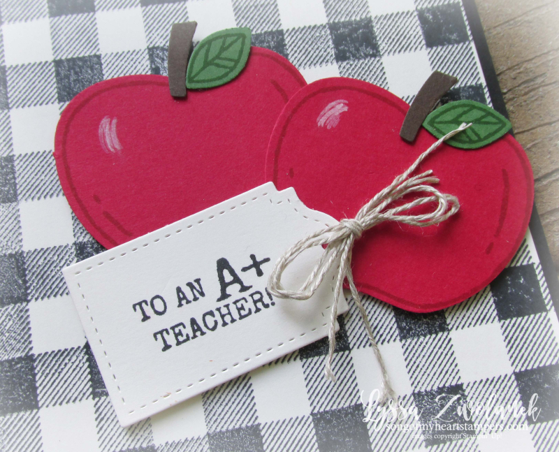 Harvest Hello farmhouse buffalo plaid check apple builder punch Stampin Up stamps teachers apples