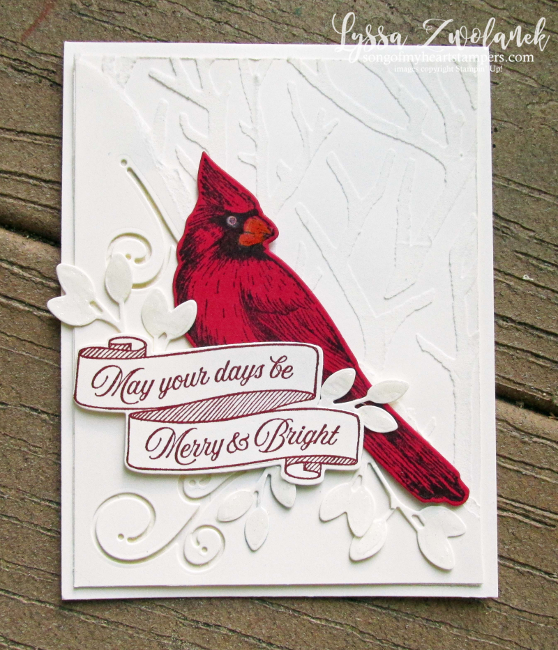Toile Tidings Cardinal Christmas Stampin Up Holiday DIY cards winter birds forest snow stamps