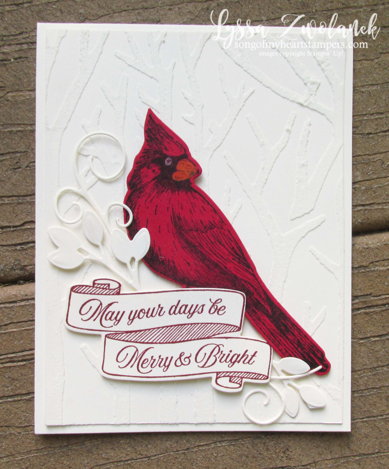 Toile Tidings Cardinal Christmas Stampin Up Holiday DIY cards winter forest snow stamps