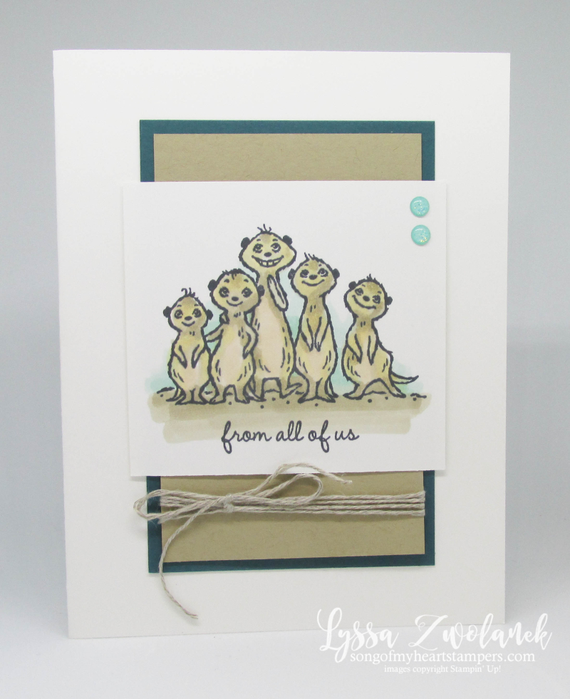 Meerkat gangs here Stampin Up saleabration meer rubber stamps Lyssa meer cardmaking DIY