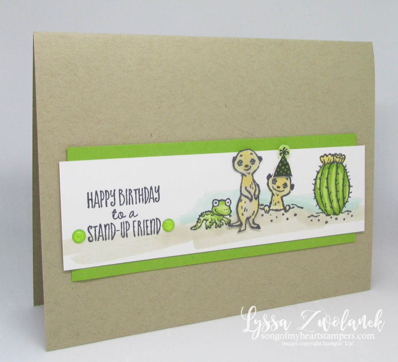 Meerkat gangs here Stampin Up saleabration meer rubber stamps Lyssa cactus meer cardmaking DIY