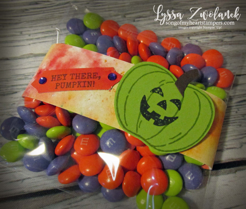 Clear envelope halloween treat bag Harvest Hello Stampin Up classroom kids craft DIY