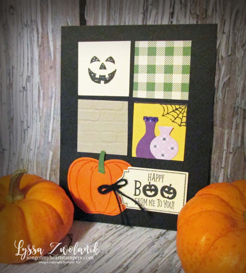 Halloween blog series rubber stamping DIY home decor quad layout papercrafts Stampin Up Monster Bash Penni Lyssa october
