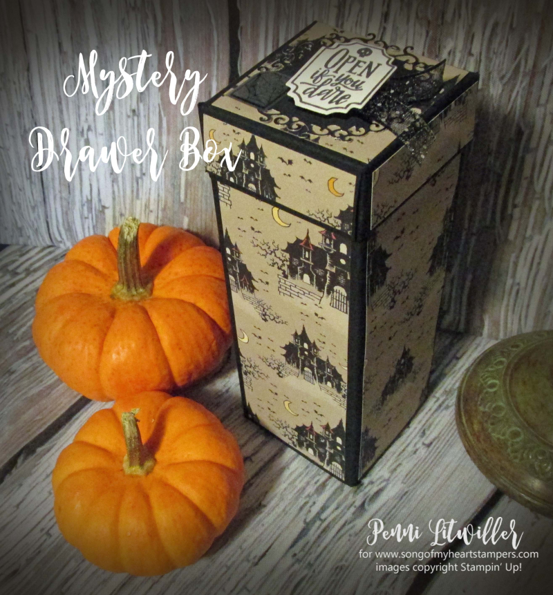 Mystery drawer box Stampin Up halloween tutorials free Monster Bash 3D boxes treat