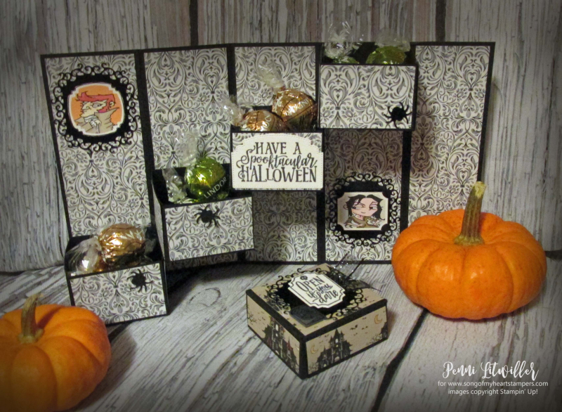 Mystery drawer box Stampin Up halloween tutorial free Monster Bash 3D boxes treats