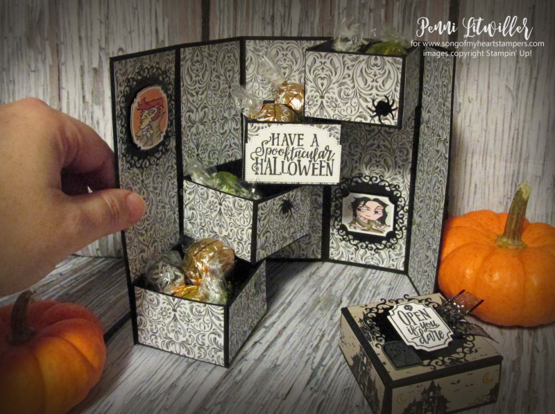 Mystery drawer box Stampin Up halloween tutorial free Monster Bash 3D boxes treat