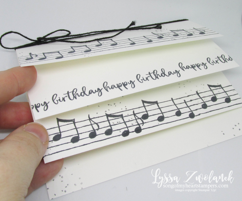Flappy Card fancy fold Music from Heart Stampin Up musical notes