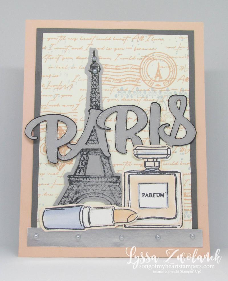 Eiffel tower paris parisian rubber stamps Stampin Up collage travel lipstick vintage cards
