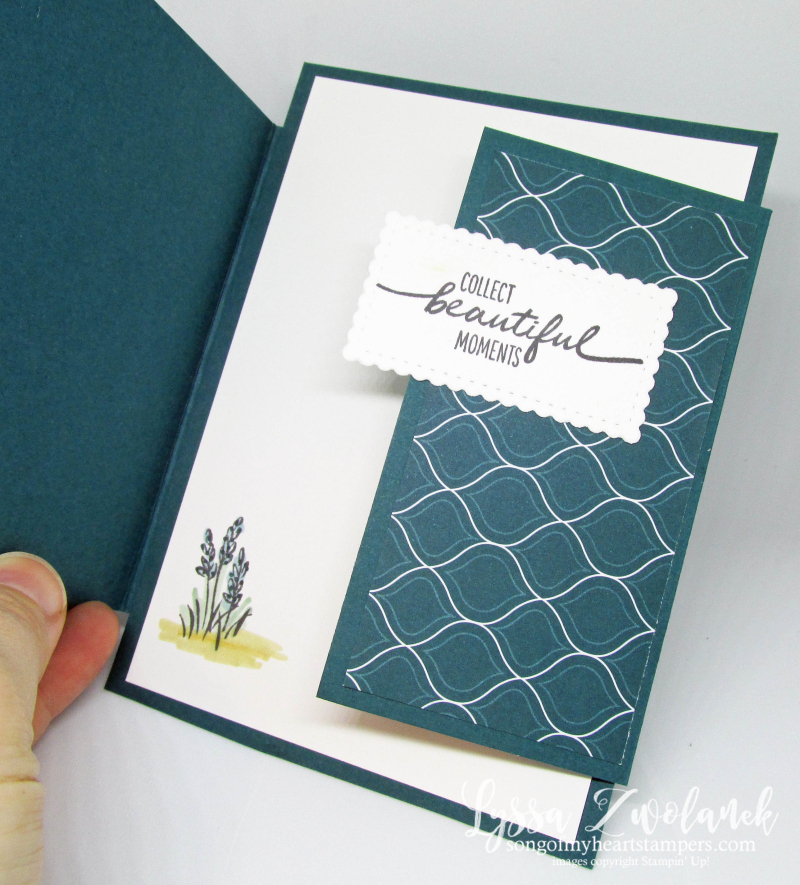 Uneven doors card Stampin Up Cheat Sheets Lyssa Z fancy folds beautiful moments stamps Blends