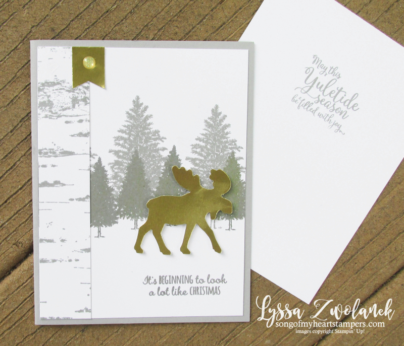 Merry Moose gold gray Birch background Stampin Up foil Christmas holiday Lyssa stamping