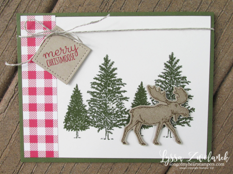 Moose holiday Christmas card Stampin Up Lyssa punch woods snow plaid