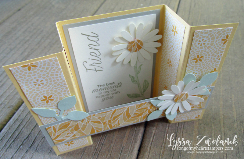 Daisy lane punch bundle Stampin up rubber stamps lace daisies class bridge fancy fold
