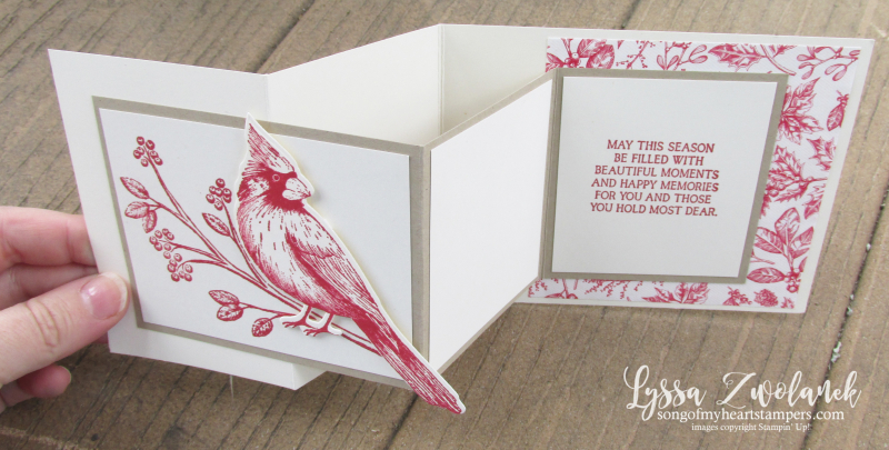 Toile Tidings Christmas Cardinal holiday cards birs fancy fold zfold rubber stamps Stampin Up