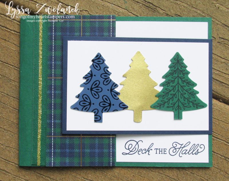 Perfectly Plaid Christmas Stampin Up tree punch bundle holiday cards DIY gold
