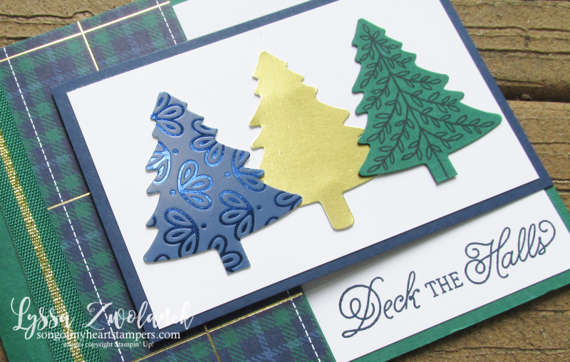 Perfectly Plaid Christmas Stampin Up trees punch bundle holiday card DIY gold