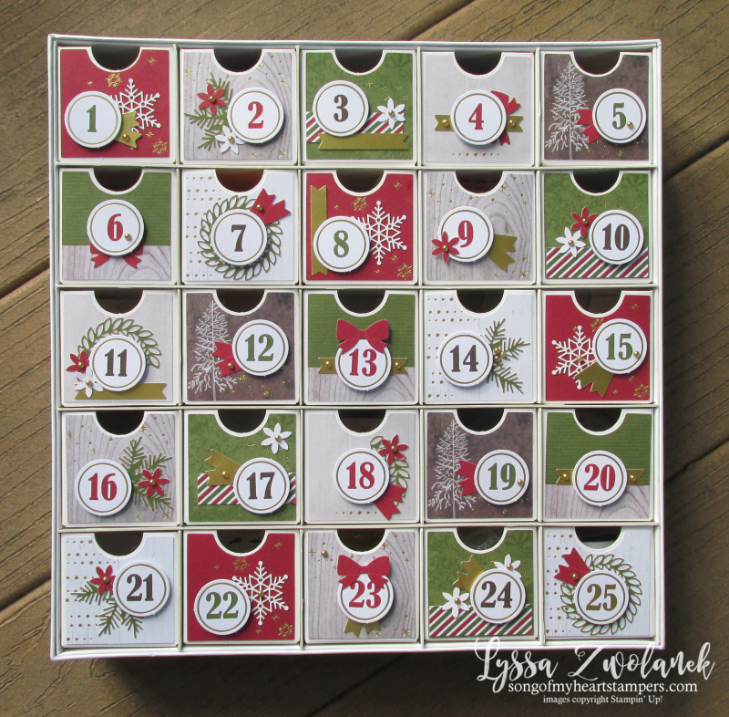 Countdown calendar advent Christmas treats reusable recycle Stampin Up Lyssa holiday DIY kit