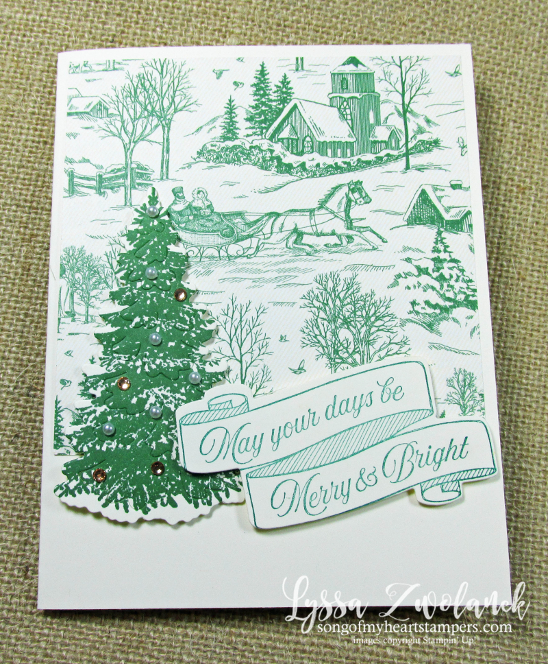 Toile tidings Christmas holiday DIY cardmaking Stampin Up Into Woods dies