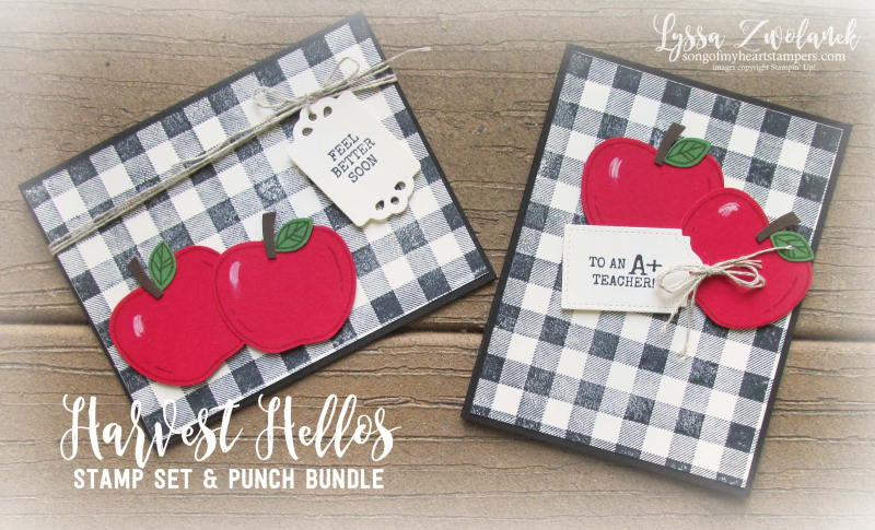Harvest Hello farmhouse buffalo plaid check apple builder punch Stampin Up stamps teacher apples