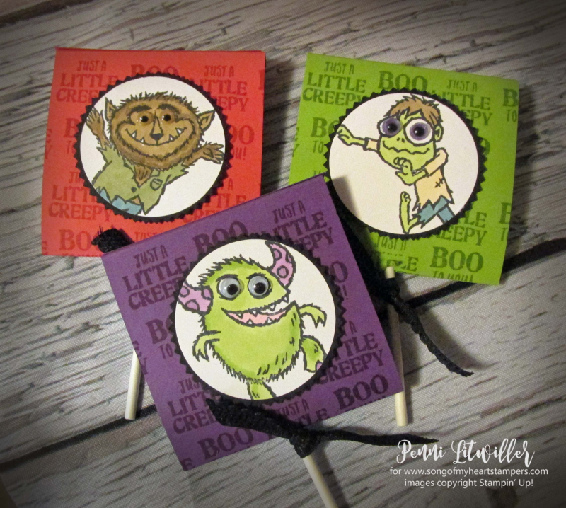 Monster bash sucker covers lollipops treats Halloween werewolf ghost zombie rubber stamps Stampin Up