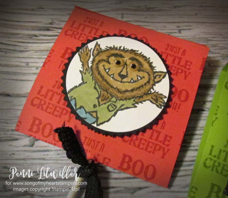 Monster bash sucker covers lollipops treats Halloween werewolf ghost mummy rubber stamps Stampin Up