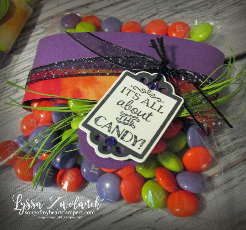 Clear envelope halloween treat bags Harvest Hello Stampin Up classroom kids craft DIY