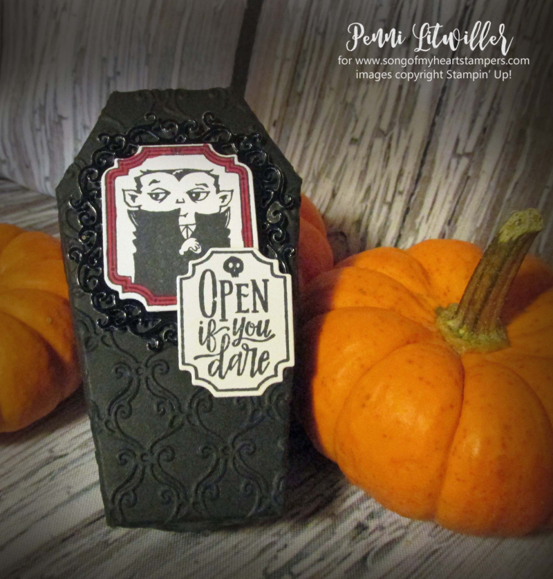 Coffin boxes Stampin Up halloween treats candy precut easy DIY tutorial rubber stamp holiday
