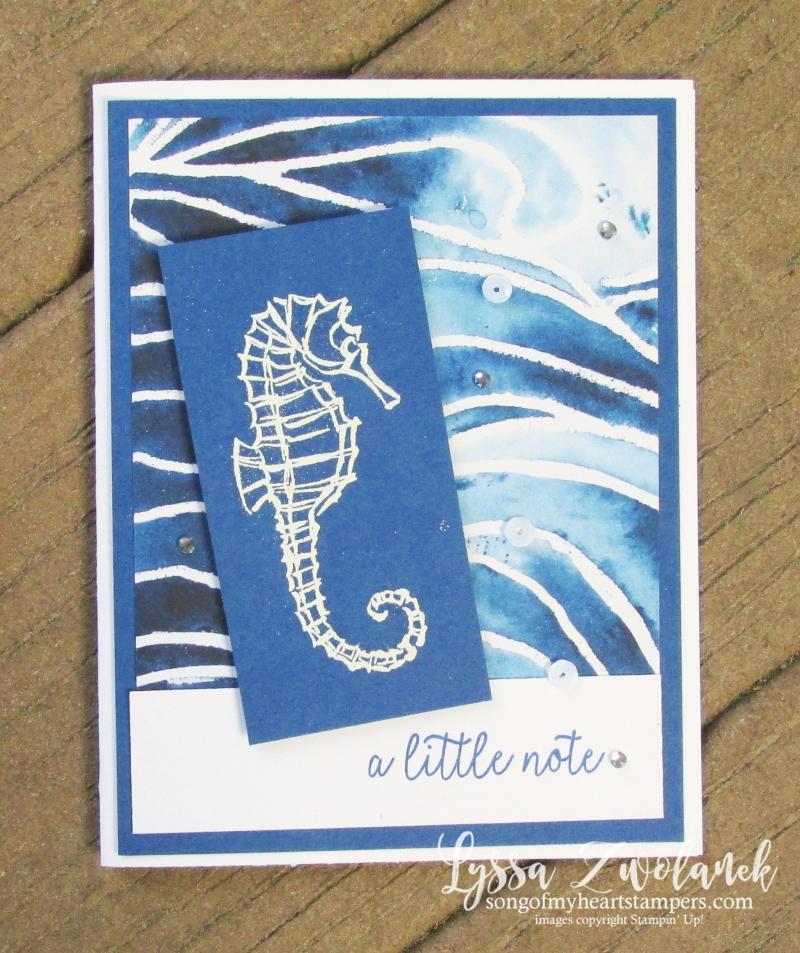 Seahorse silhouette pigment sprinkles paper Stampin Up seaside notions ocean stamps
