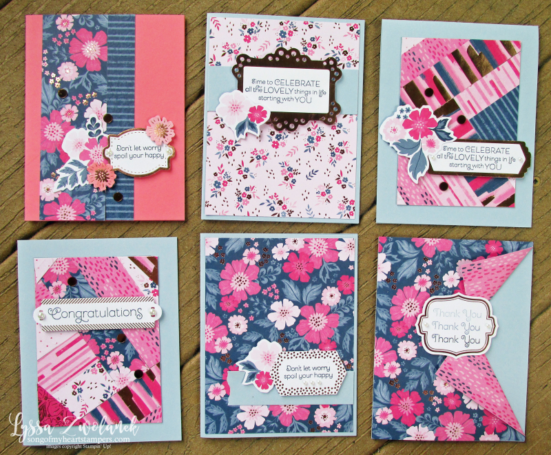 Everything is rosy card kit stampin up Lyssa quilts technique cardmaking