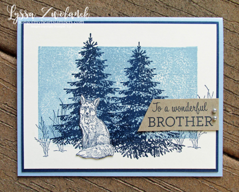 Winter woods stamps fox arctic spruce evergreen snow Stampin Up trees rubber stamping techniques