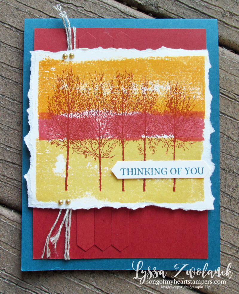 Winter woods autumn glory painters tape technique Stampin Up Lyssa sunset trees rubber stamps DIY cards