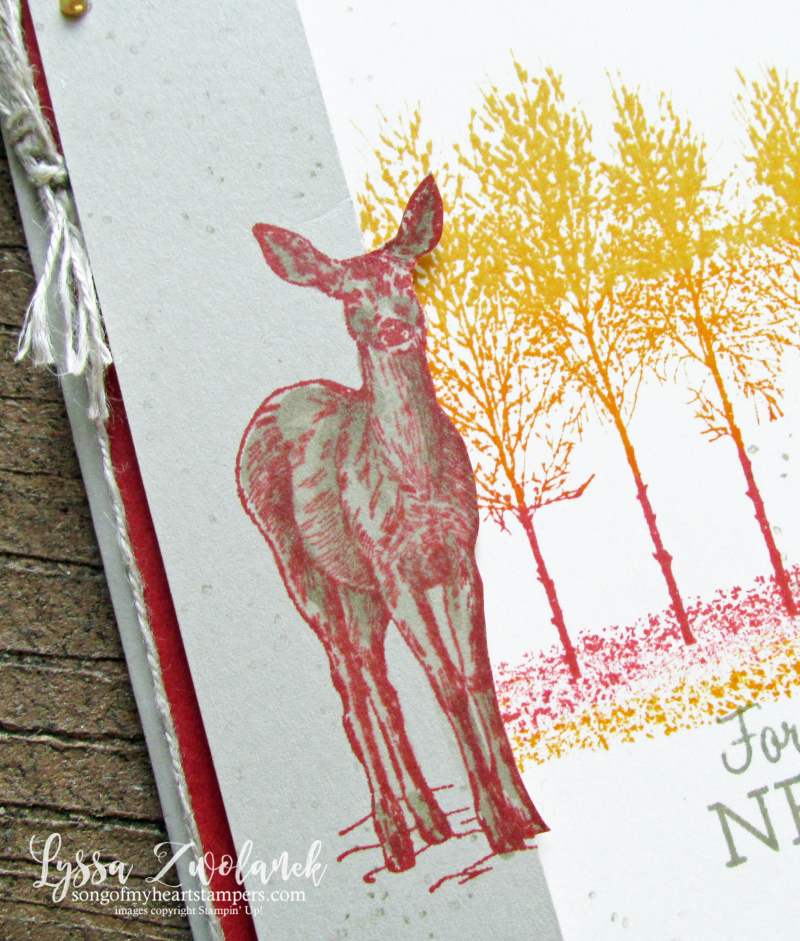 Winter woods autumn trees fall colors deer Natures Beauty Stampin Up rubber stamps forest sunset