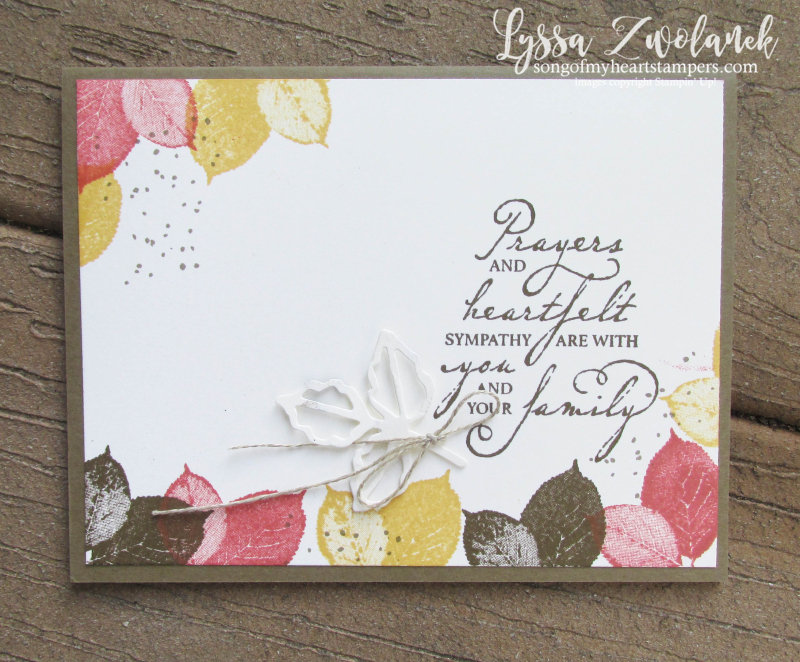 Autumn sympathy leaves fall card condolences DIY cardmaking Stampin Up Lyssa