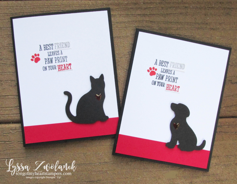 Pet sympathy card paw print rubber stamps cat dog punch Stampin Up pets lovers adoption Lyssa