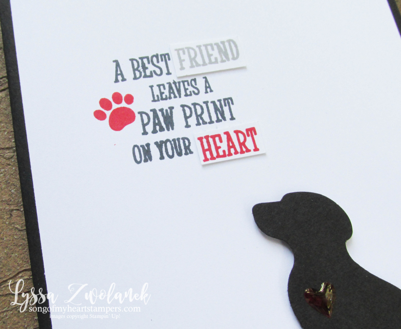 Pet sympathy card paw print rubber stamps cat dog punch Stampin Up pet lovers adoption Lyssa