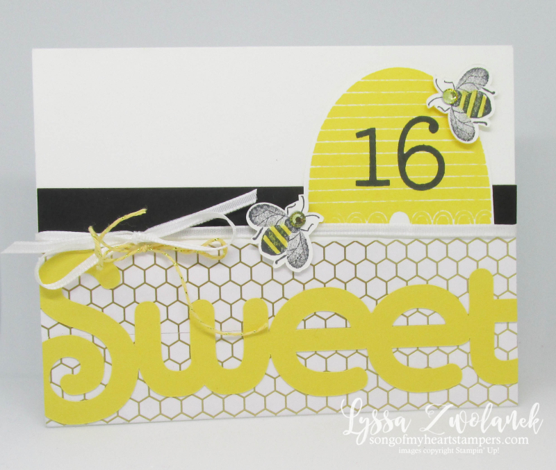 Honeybee Hive Golden Honey papers cards bee sweet 16 layout Stampin Up Lyssa