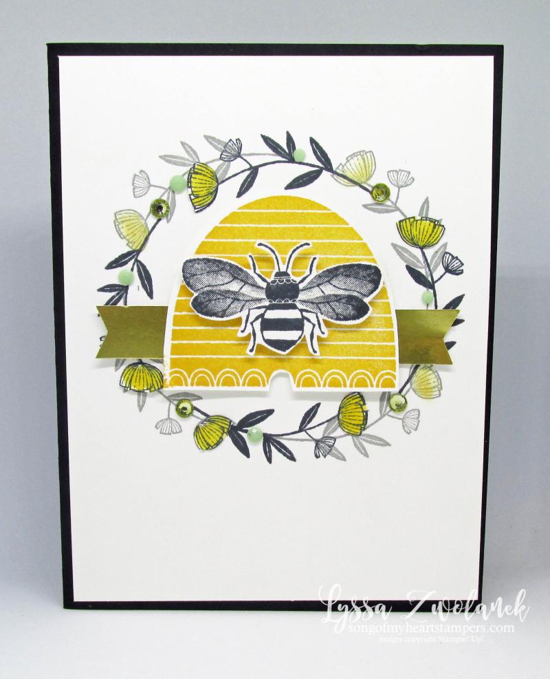 Honeybee Hive Golden Honey papers vintage wreath bee Stampin Up Lyssa