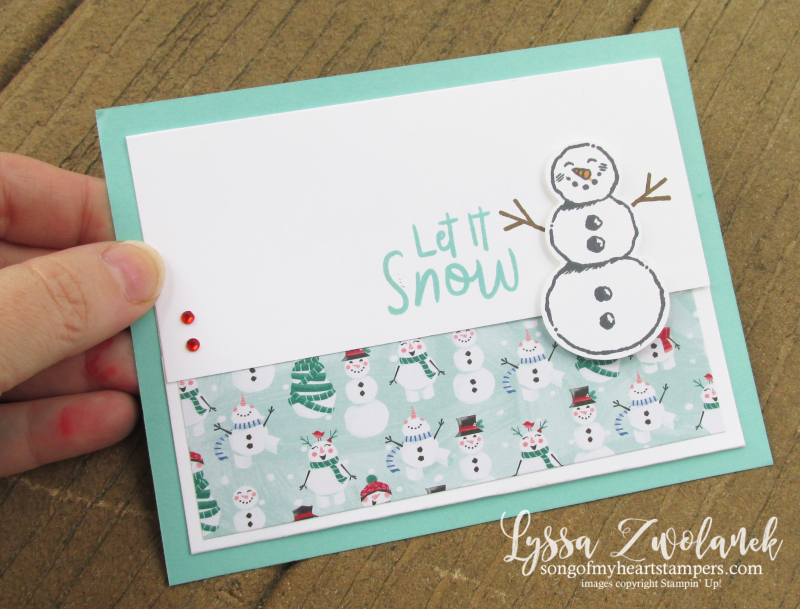 Let it Snow snoman season holiday Christmas gift card holder cardmaking DIY gifts Stampin Up