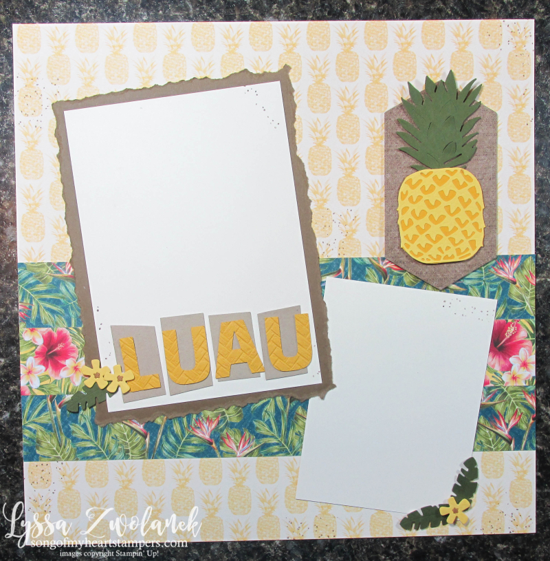 Timeless tropical Hawaiian Florida scrapbooking beach luau cruise pineapple vacation 12x12 Stampin Up