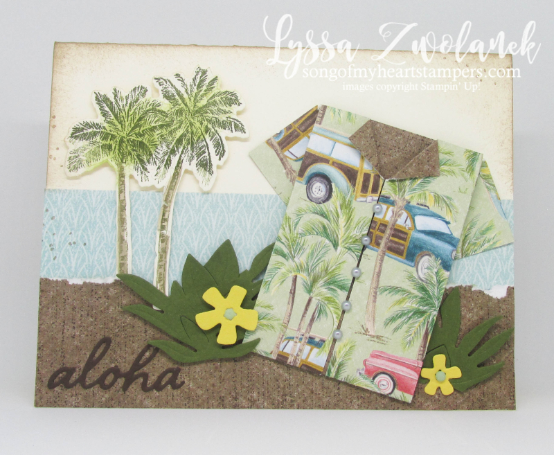 Timeless tropical oasis Stampin Up palms beach sand shirt origami pineapple hawaiian rubber stamps
