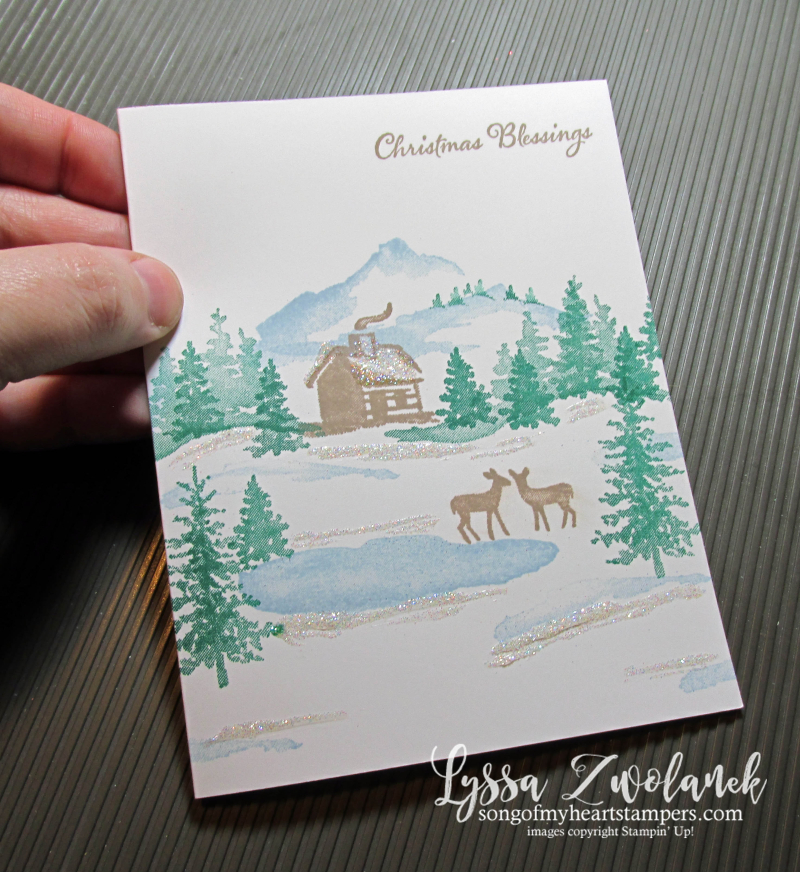 Snowfront snowy holiday Christmas mountain cabin deer card Stampin Up layouts