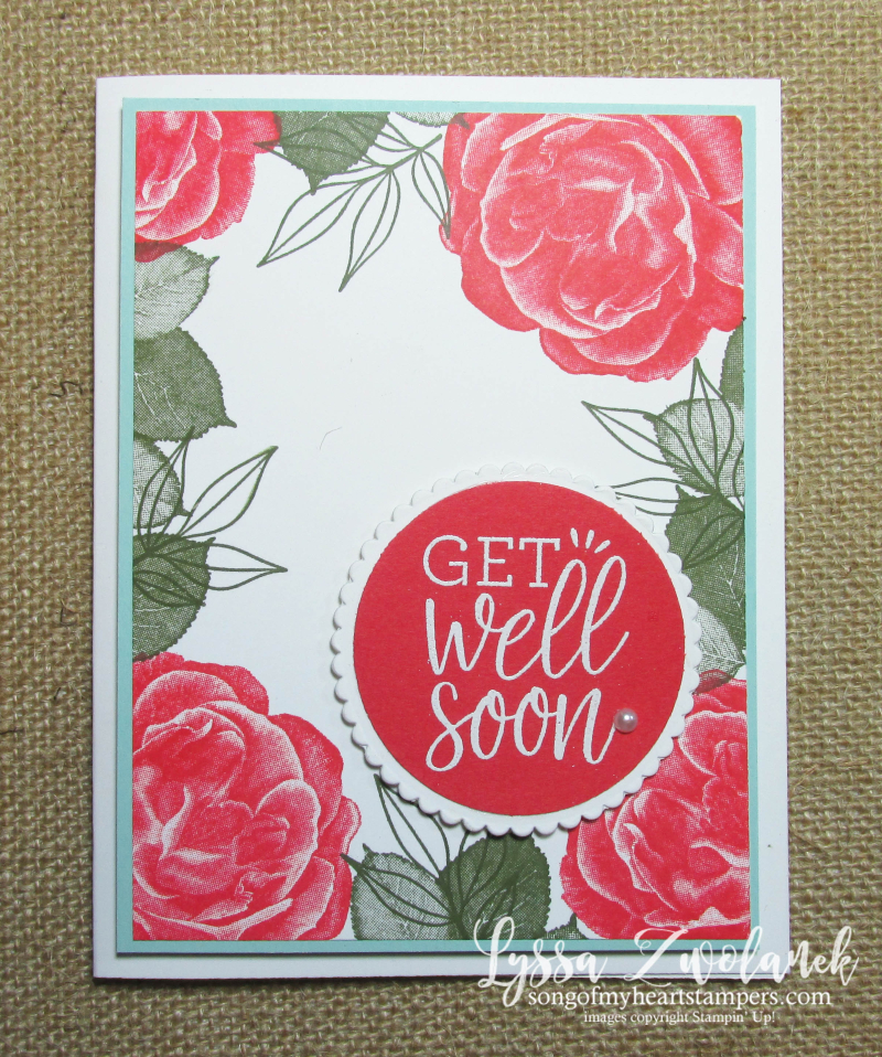 Healing hugs get well soon rubber stamps Stampin Up Lyssa roses leaves