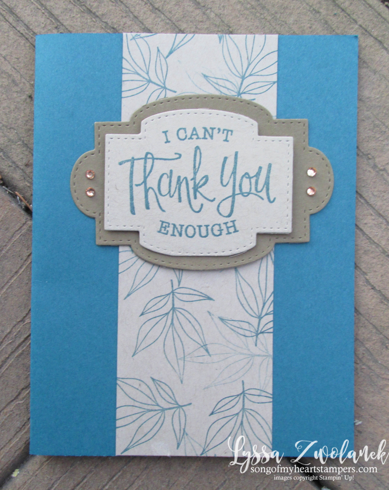 Healing hugs thank you card stampin up leaves rubber stamps supplies